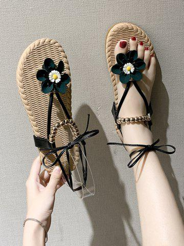 Lace Up Floral Beads Flat Thong Sandals