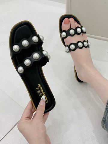 Faux Pearl Two Strap Flat Slides Sandals