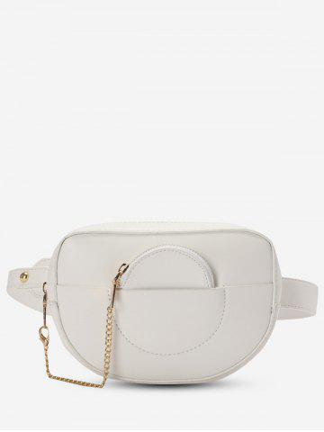 Faux Leather Bum Bag With Pouch - WHITE