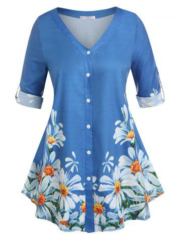 Plus Size Roll Up Sleeve Floral Print Blouse - BLUE - 2X