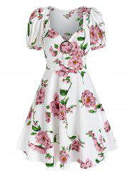 Floral Print Puff Sleeve Flare Dress -
