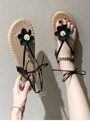 Lace Up Floral Beads Flat Thong Sandals -