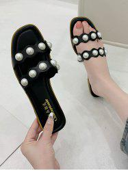 Faux Pearl Two Strap Flat Slides Sandals -