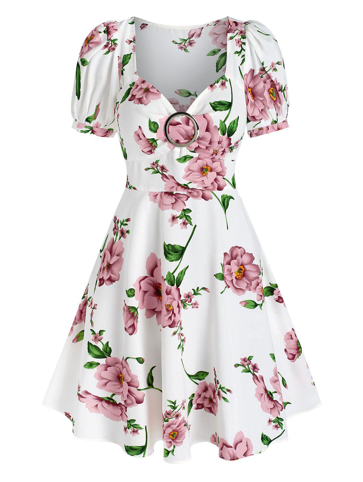 Trendy Floral Print Puff Sleeve Flare Dress