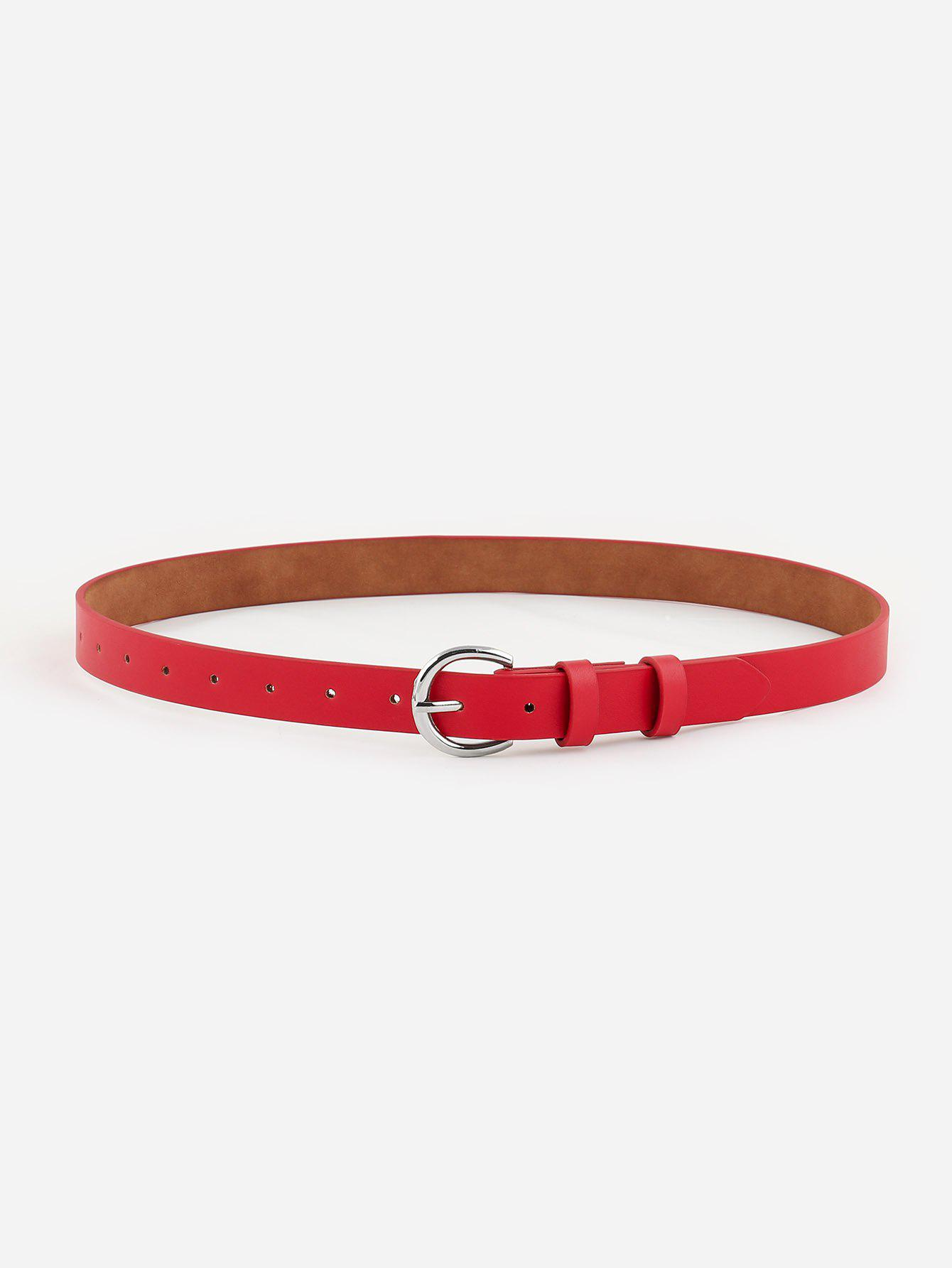 Outfits Minimalistic Silvery D Buckle Belt