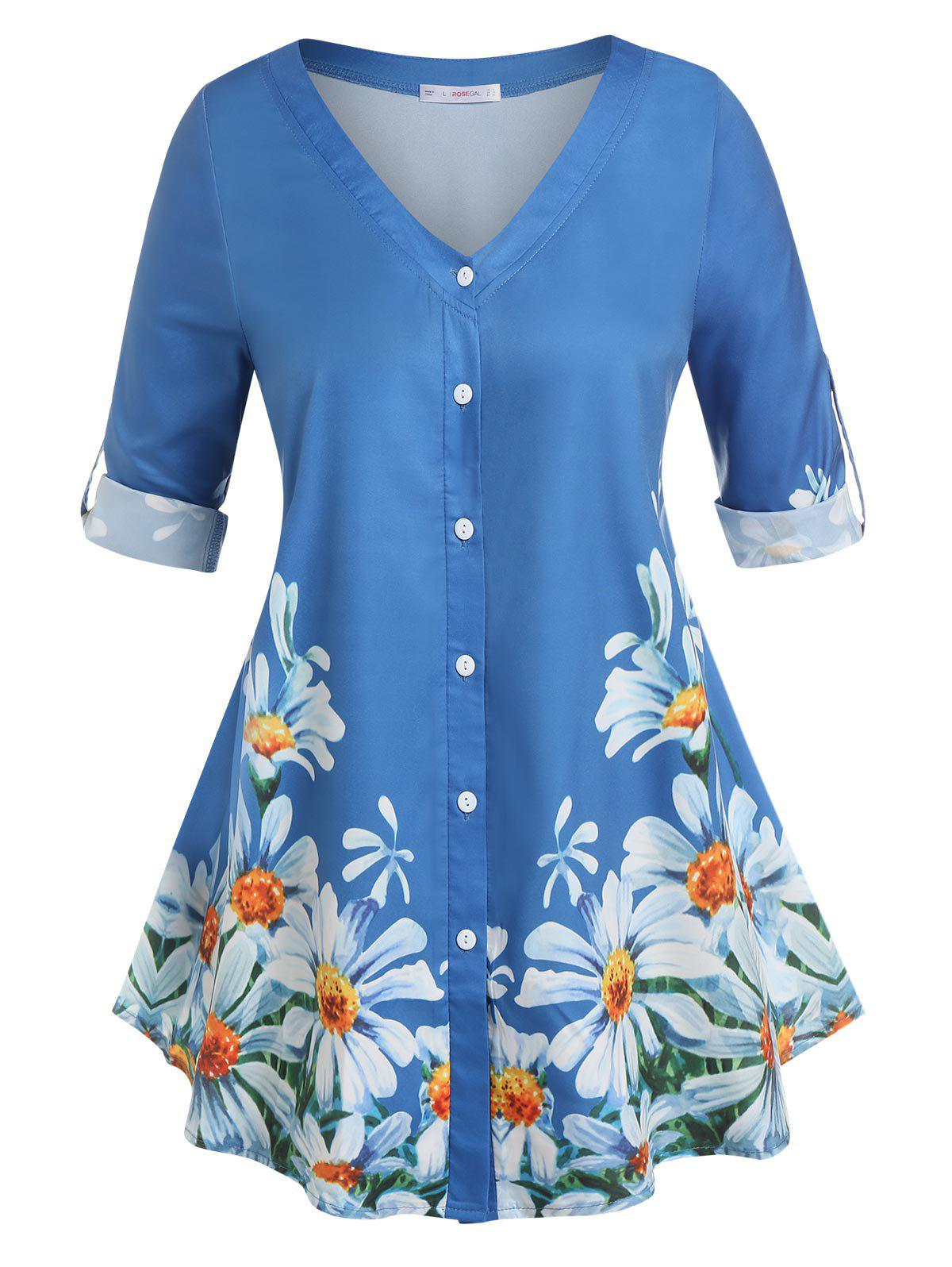 Outfits Plus Size Roll Up Sleeve Floral Print Blouse