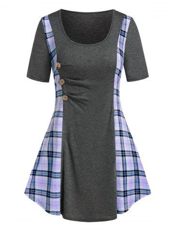 Plus Size Plaid Ruched A Line Tunic Long Tee - LIGHT PURPLE - 3X