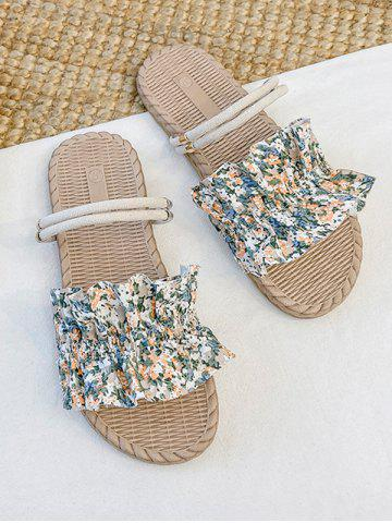Tiny Floral Ruffle Two Way Flat Slides Sandals