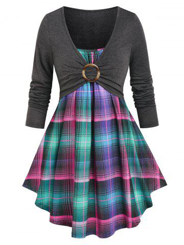 O Ring Ruched Plaid Faux Twinset Tee