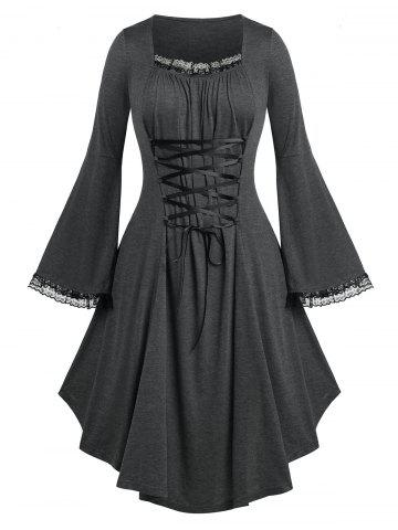 Plus Size Lace Up Bell Sleeve Dress - GRAY - 5X