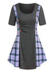 Plus Size Plaid Ruched A Line Tunic Long Tee -