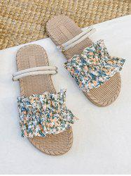 Tiny Floral Ruffle Two Way Flat Slides Sandals -