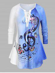 Plus Size Lace Up Ombre Color Music Notes Print Tee -