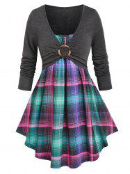 O Ring Ruched Plaid Faux Twinset Tee -