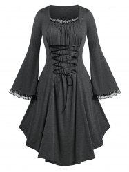 Plus Size Lace Up Bell Sleeve Dress -