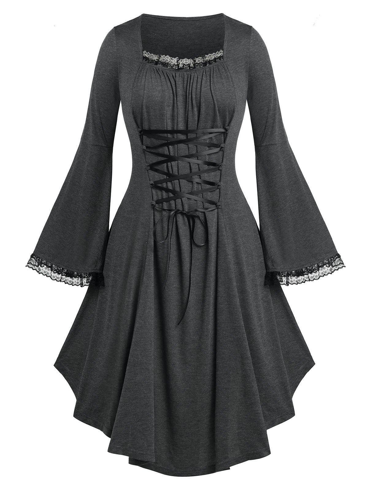 Buy Plus Size Lace Up Bell Sleeve Dress