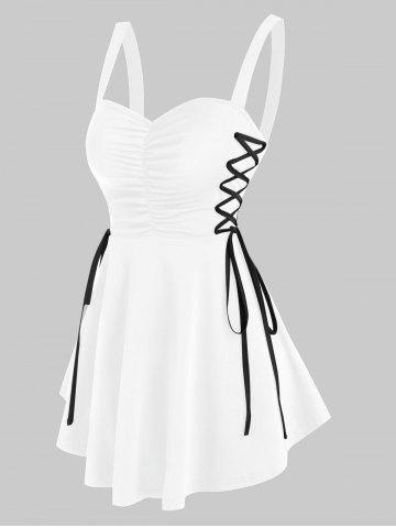 Ruched Side Lace Up Flare Tank Top - WHITE - S