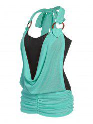 O Ring Cowl Front Faux Twinset Tank Top -