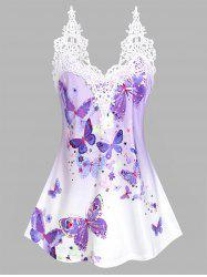 Lace Insert Floral Butterfly Print Tank Top -