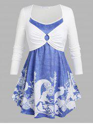 Plus Size Floral Print O Ring 2 in 1 T-shirt -
