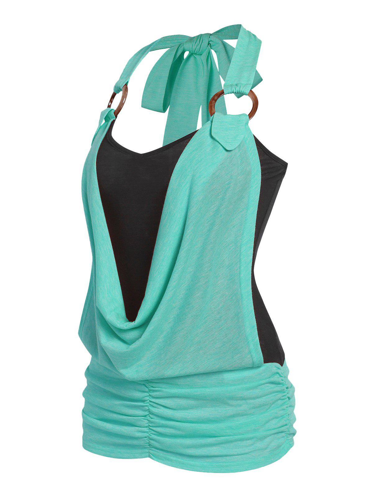 Discount O Ring Cowl Front Faux Twinset Tank Top