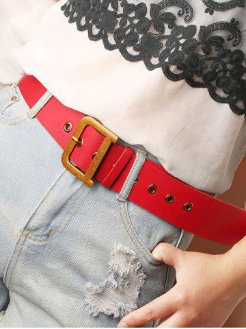 Gold-Tone D Buckle Wide Belt - RED