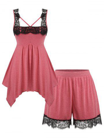 Plus Size Handkerchief Lace Panel Tank Top and Shorts Pajamas Set - RED - 3X