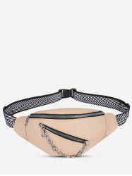 Double Compartment Chain Embellished Bum Bag -