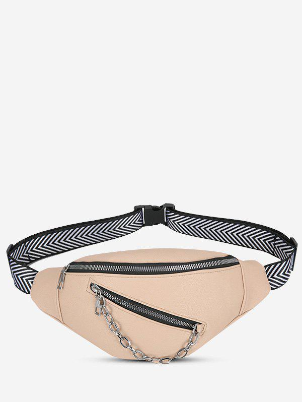 Cheap Double Compartment Chain Embellished Bum Bag