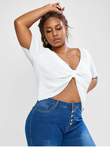 Plus Size Knot Ribbed Top - WHITE - 3XL