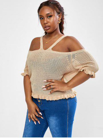 Plus Size Knit Frilled Cold Shoulder Top - LIGHT COFFEE - 3XL