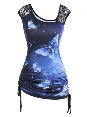 Lace Panel Cinched Galaxy Butterfly Print Tank Top