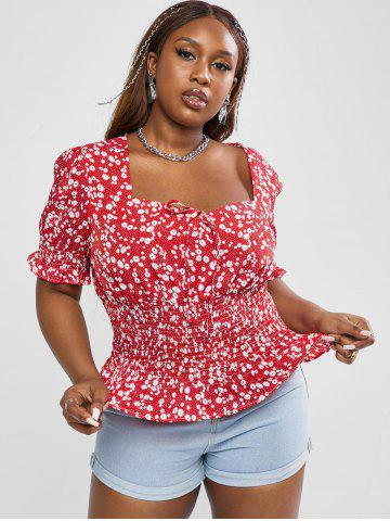 Plus Size Sweetheart Neck Ditsy Print Smocked Detail Puff Sleeve Blouse - RED - 3XL