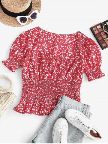 Plus Size Sweetheart Neck Ditsy Print Smocked Detail Puff Sleeve Blouse