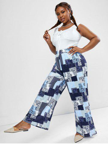 Plus Size Ruched Sleeveless Top and Paisley Patchwork Print Wide Leg Pants - DEEP BLUE - 2XL