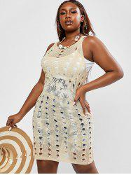 Plus Size Openwork Cover Up Knit Dress -