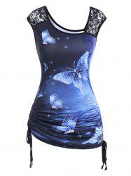 Lace Panel Cinched Galaxy Butterfly Print Tank Top -