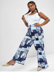 Plus Size Ruched Sleeveless Top and Paisley Patchwork Print Wide Leg Pants -