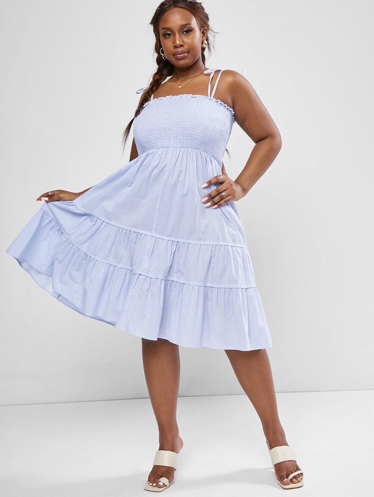 Store Plus Size Pinstriped Tie Shoulder Smocked Bodice Tiered Midi Dress