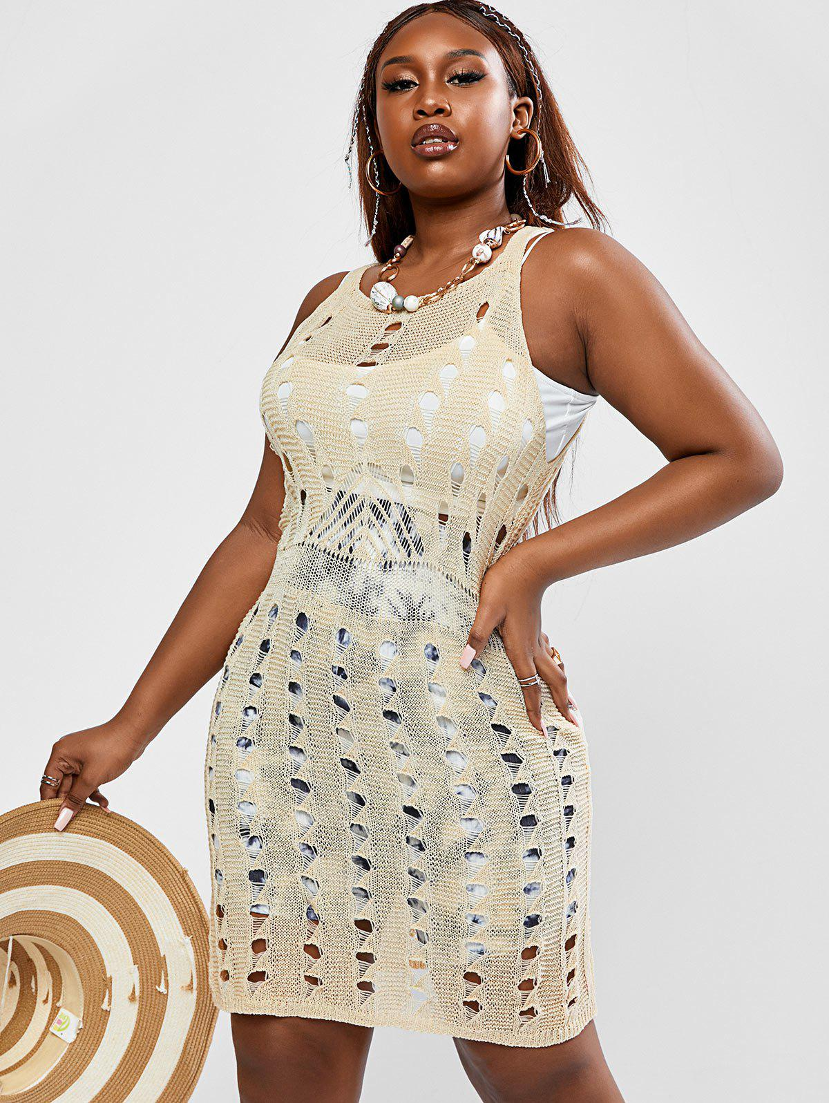 Online Plus Size Openwork Cover Up Knit Dress