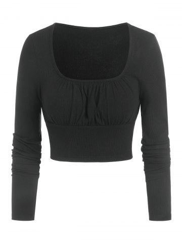 Ruched Bust Cropped Ribbed T-shirt - BLACK - XXXL