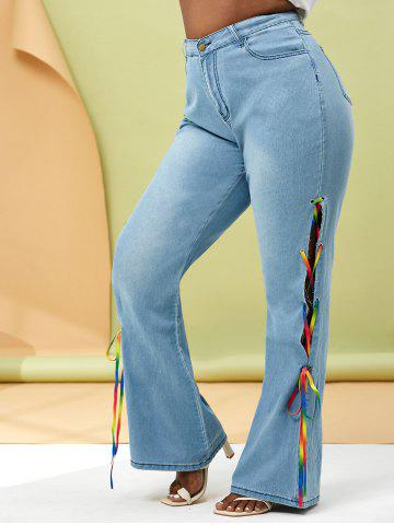 Plus Size Colorful Lace Up Side Flare Jeans