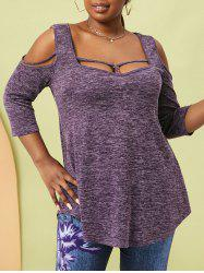 Plus Size Heather O Ring Cold Shoulder Strappy T Shirt -