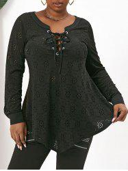 Plus Size Lace Up Eyelet Roll Tab Sleeve Tunic Top -