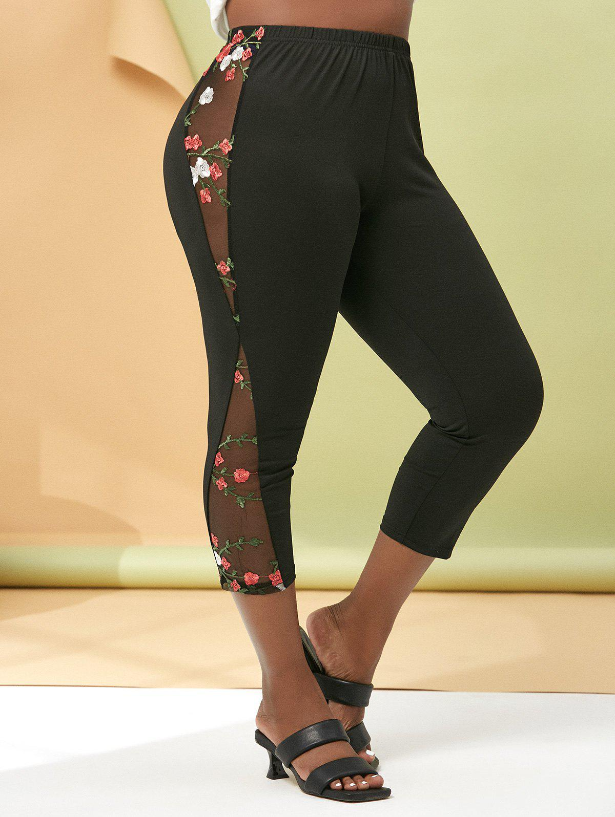 Outfits Floral Embroidered Mesh Side Plus Size Capri Leggings