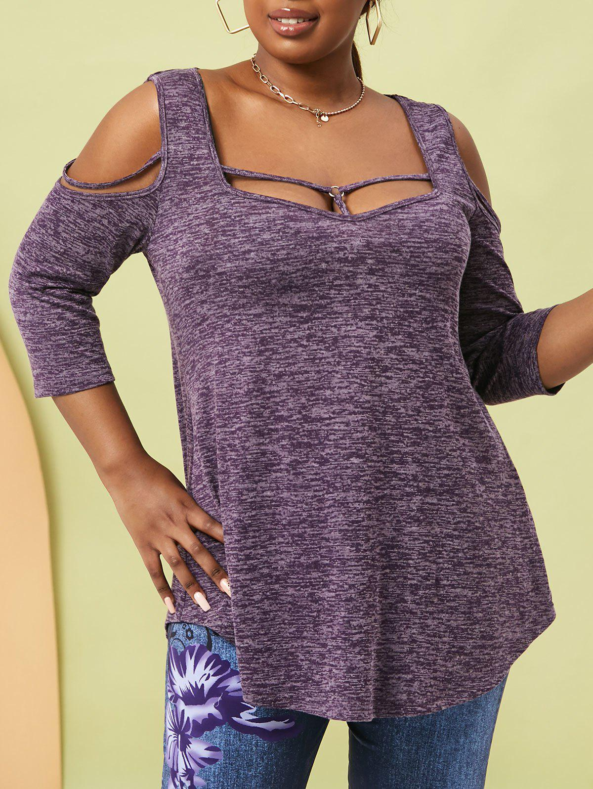 Chic Plus Size Heather O Ring Cold Shoulder Strappy T Shirt