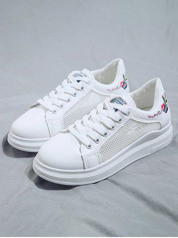 Lace-Up Flower Embroidery Sneakers