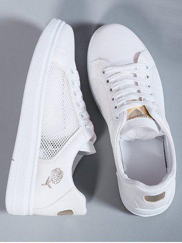 Lace-Up Rose Embroidery Sneakers