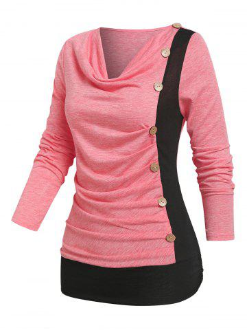 Cowl Neck Mock Button Ruched Contrast T-shirt