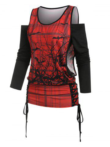 Off The Shoulder T-shirt and Halloween Lace Up Printed Tank Top Set - RED - XXXL